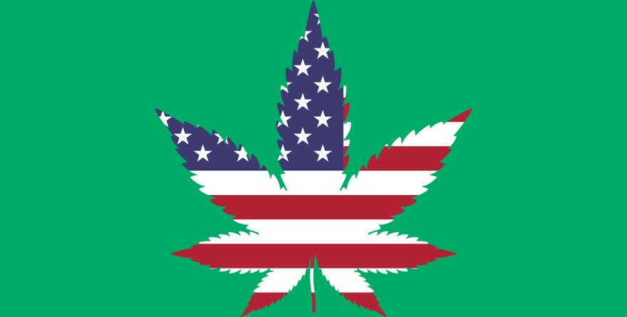 Marihuana wypełniona flagą USA