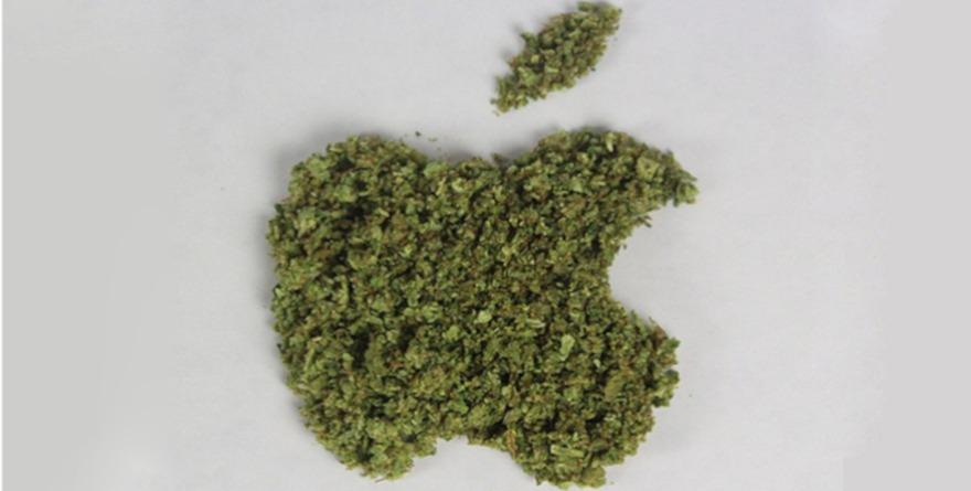 Logo apple z marihuany